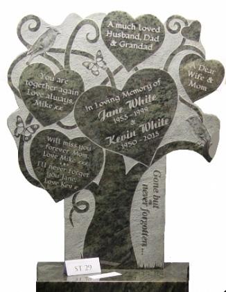 Памятник в виде дерева с сердцами