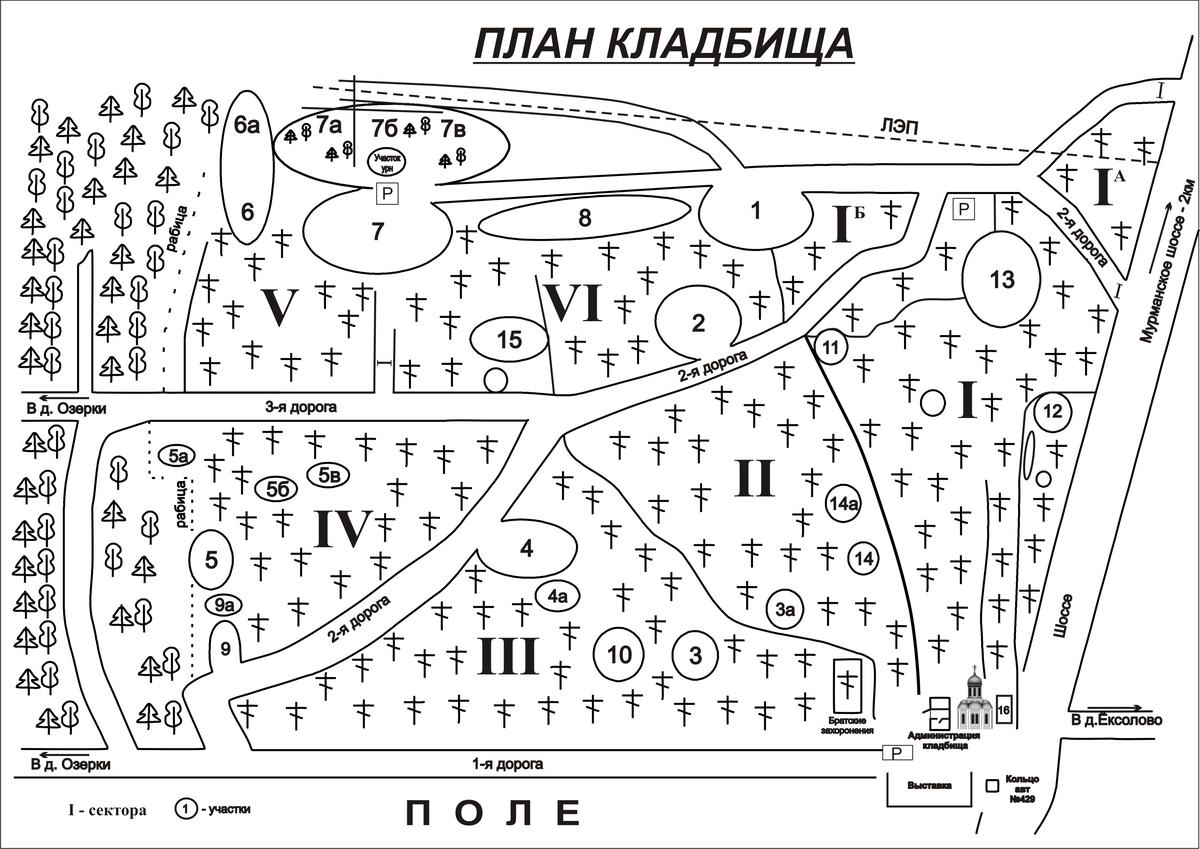 Схема Озерковского кладбища
