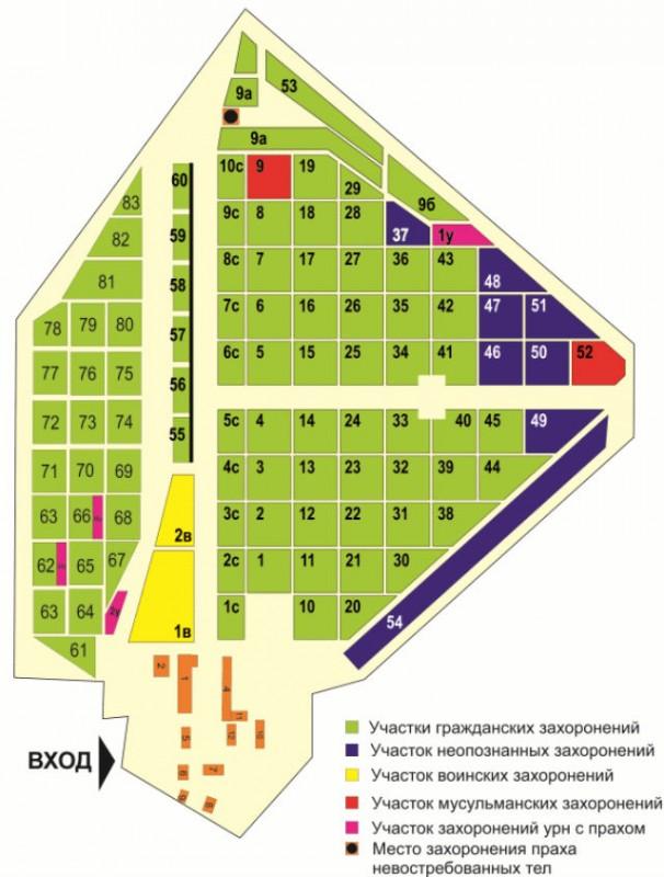 План-схема Перепечинского кладбища