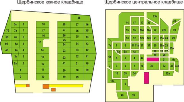 Щербинское кладбище (Южное и Центральное) - схема