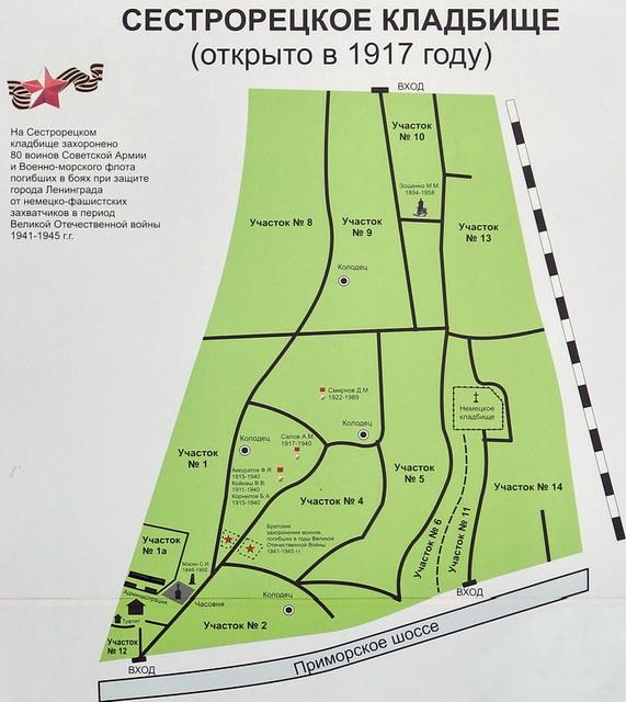 Схема Сестрорецкого кладбища