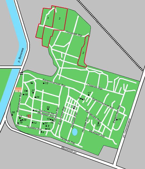 Схема Волковского лютеранского кладбища